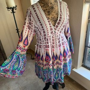 Umgee Paisley Boho Dress    Small